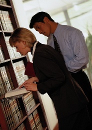 Man and woman doing research