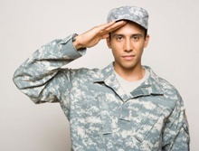 Male soldier saluting
