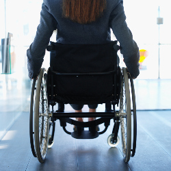 Back of woman in wheelchair in an office