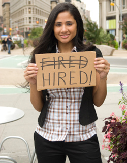 Young woman hired