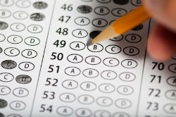 Close up of scantron and pencil