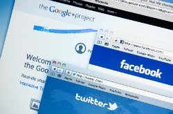 Google+, Facebook, Twitter sites on computer screen