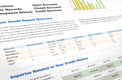 Angled view of credit report