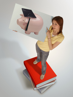 Student Standing on Books While Holding Photo of Piggy Bank Wearing Graduation Cap