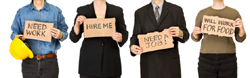 Unemployed people holding job searching signs