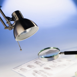 Light and Magnifying Glass Over a Criminal Record Sheet