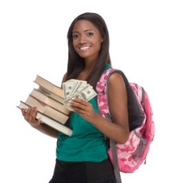 College student holding textbooks and money