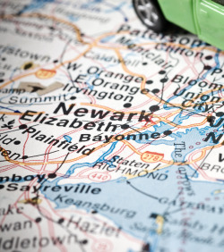 Newark New Jersey on a map