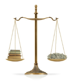 Scales of Justice with money on one side, law books on the other