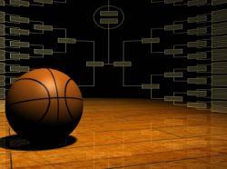Basketball in Front of Tournament Bracket