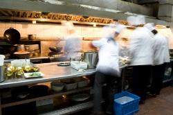 Busy hotel restaurant kitchen