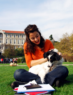 College student playing with dog