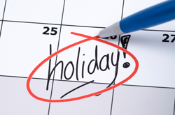 Holiday circled in calendar