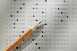 Pencil on top of a Standardized Test Answer Sheet