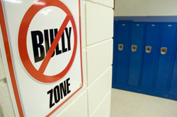 No bullying sign in high school hallway