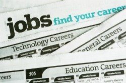 Job listings in newspaper