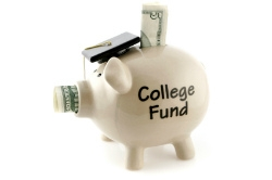 Piggy bank labelled College Fund