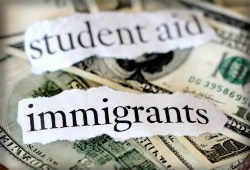 Money with the words student aid and immigrants