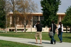 Students on California State University Northridge campus