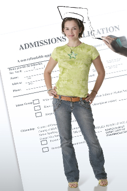 High school graduate with admissions application in background