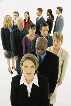 Business people standing in a long line