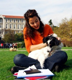 College student with dog