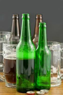 Beer bottles and mugs
