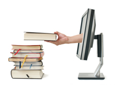 Hand extending out of computer screen and holding book