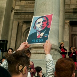 Students with Obama Poster